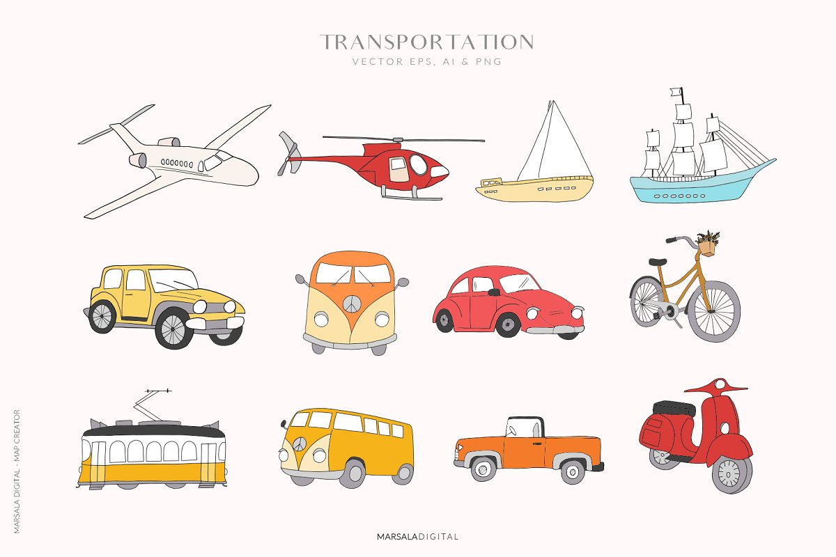 Map Creator Wedding Travel Summer in Illustrations - product preview 12