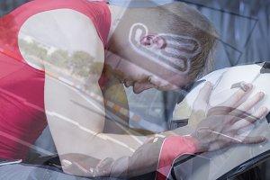 double exposure go-kart driver