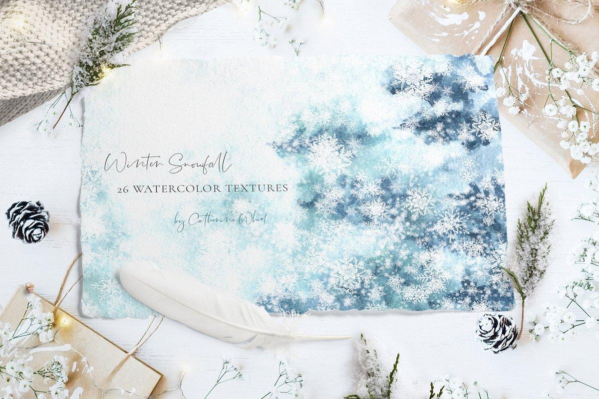 Winter Snow Watercolor Textures