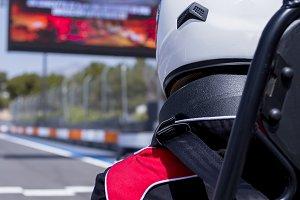 go-kart pilot on the starting line