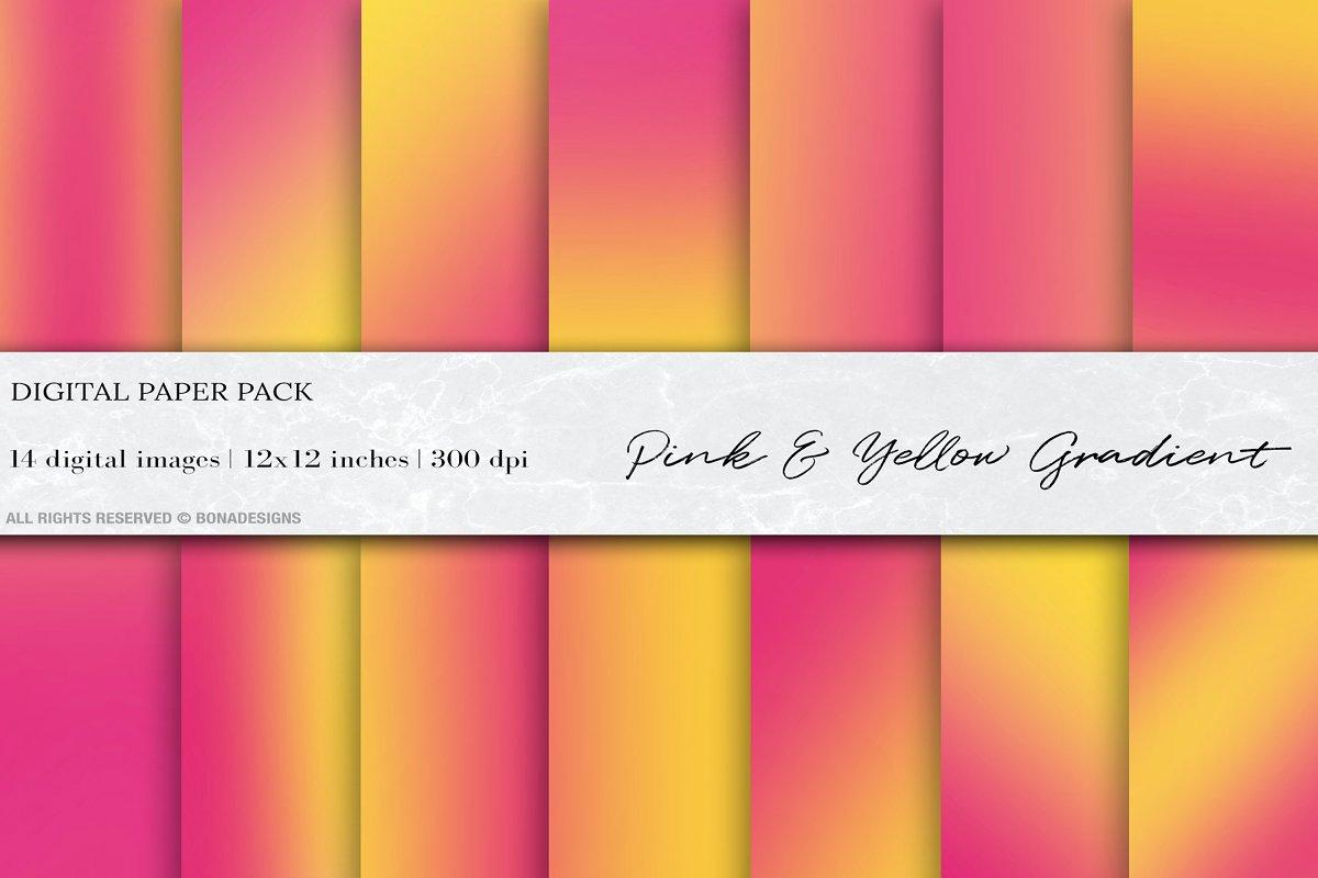 Pink Yellow Gradient Digital Papers