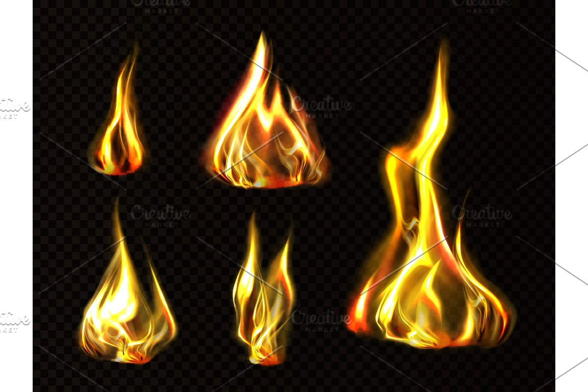 Realistic fire, torch flame set