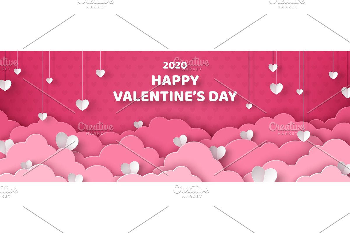 White paper hearts with pink clouds