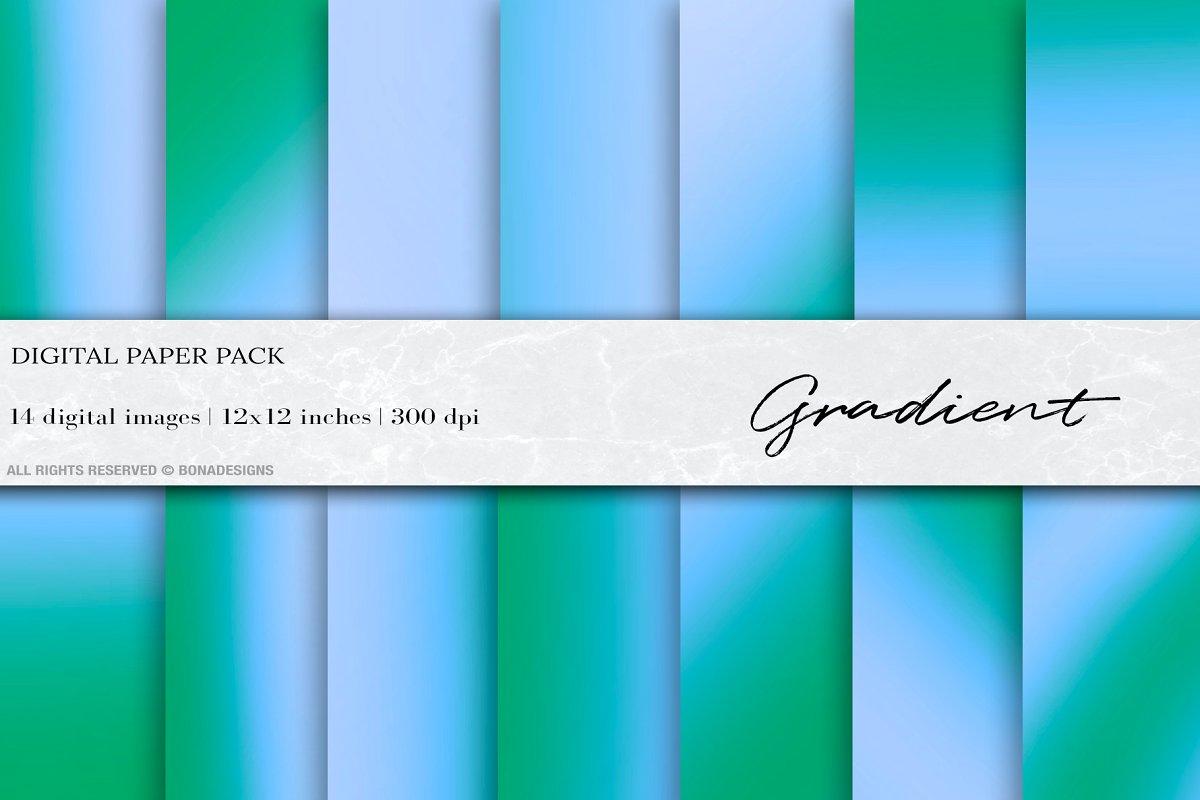 Green Blue Gradient Digital Paper