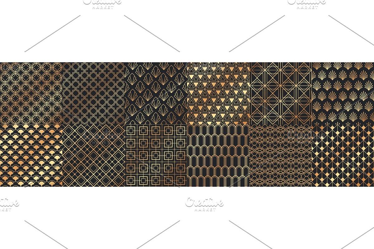 Golden art deco seamless patterns