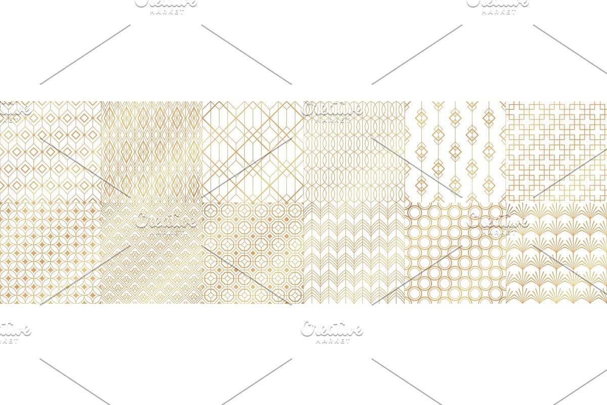Golden art deco patterns. Decorative