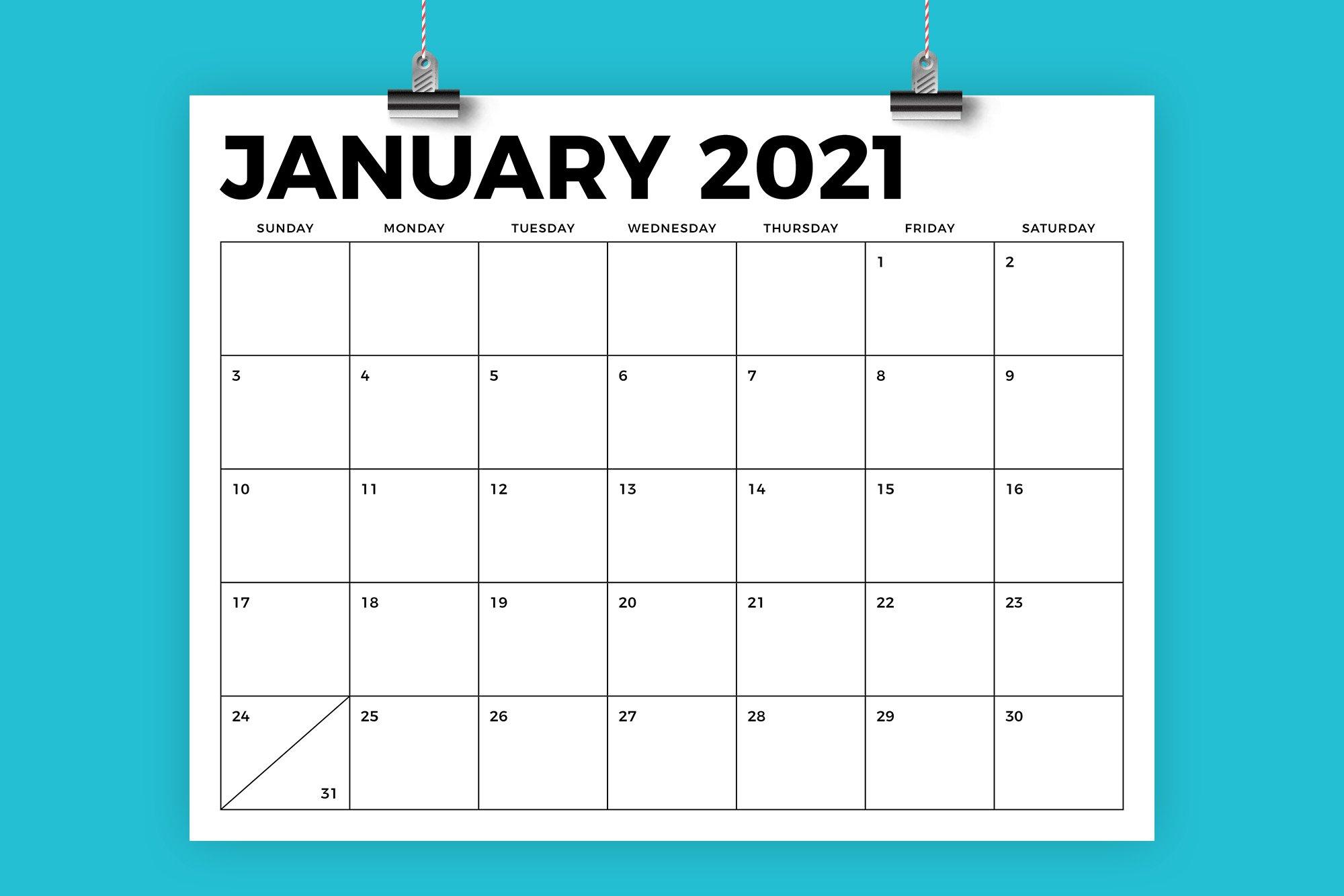 8 5 X 11 Inch Bold 2021 Calendar Creative Illustrator Templates Creative Market