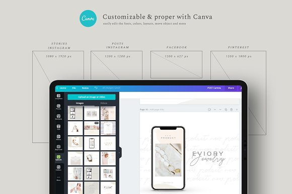 PS & CANVA Carlota - Social Media in Instagram Templates - product preview 1