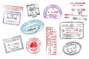 Vector Grunged Passport Stamps