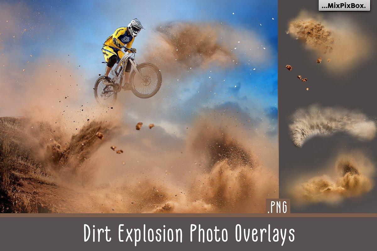 Dirt Explosion Photo Overlays in Add-Ons
