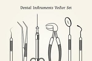 Vintage dentist tools. Teeth care