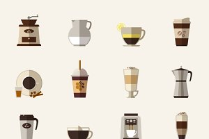 Coffee flat icons. Take-out coffee