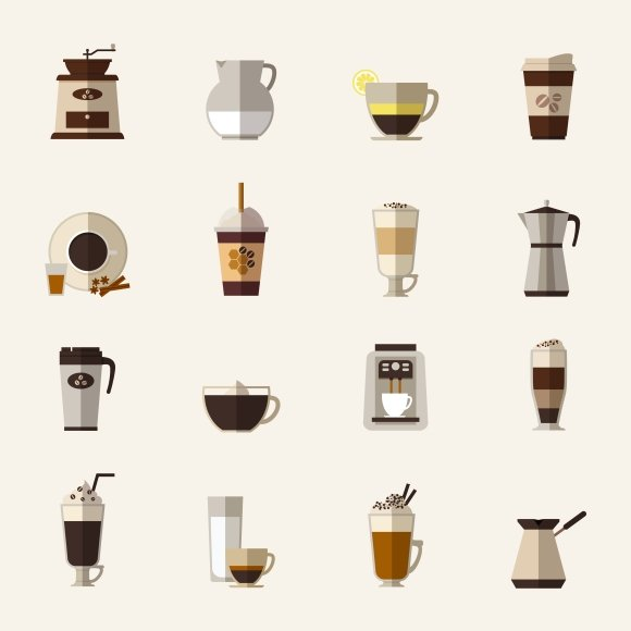 Coffee flat icons. Take-out coffee - Graphics