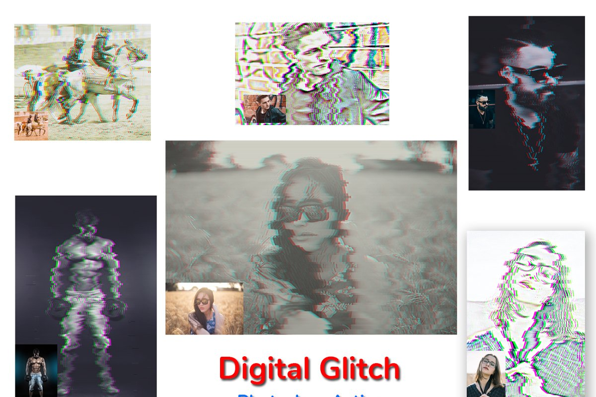 Digital Glitch Photoshop Action in Add-Ons