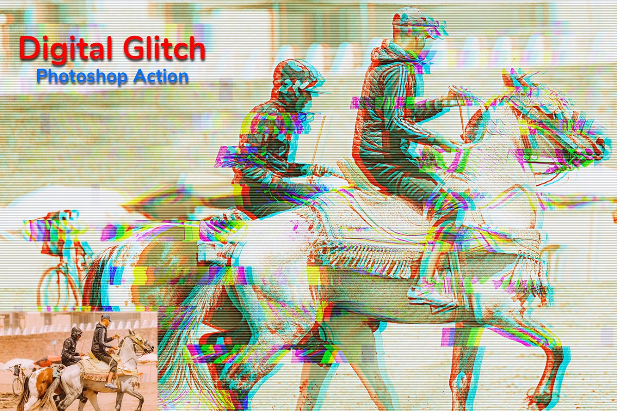 Digital Glitch Photoshop Action in Add-Ons - product preview 1
