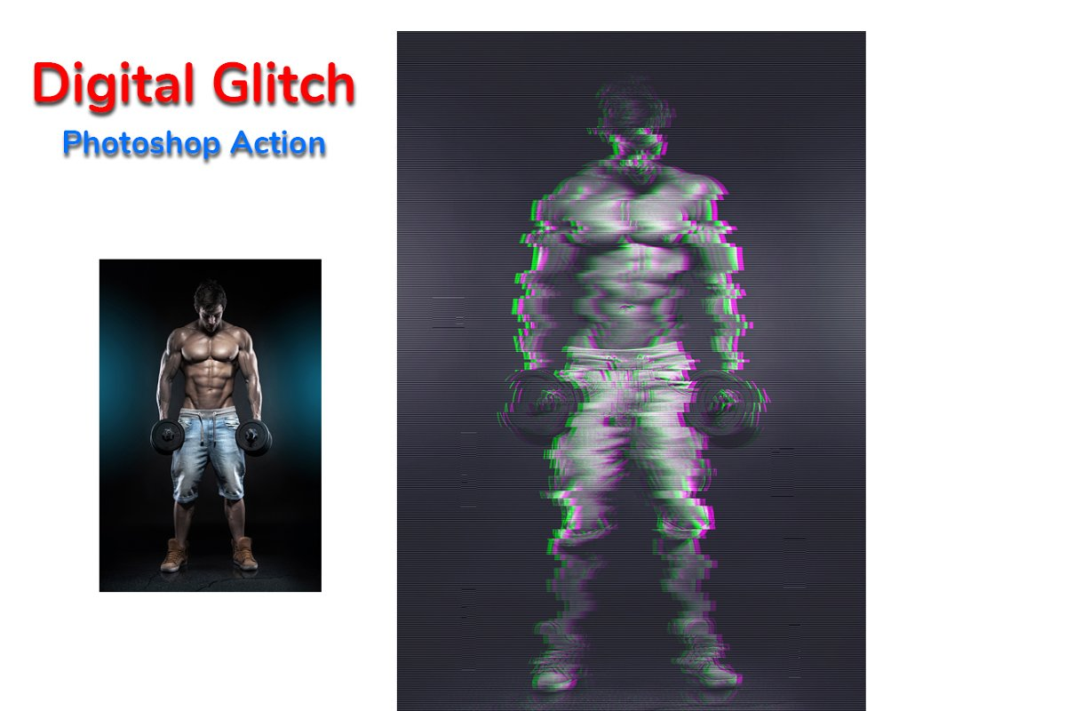 Digital Glitch Photoshop Action in Add-Ons - product preview 2