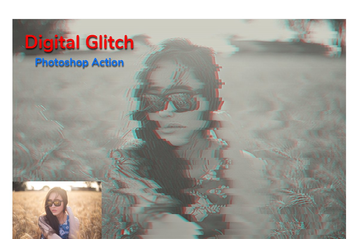 Digital Glitch Photoshop Action in Add-Ons - product preview 3