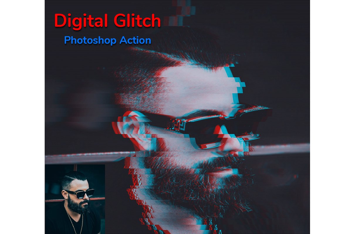 Digital Glitch Photoshop Action in Add-Ons - product preview 4