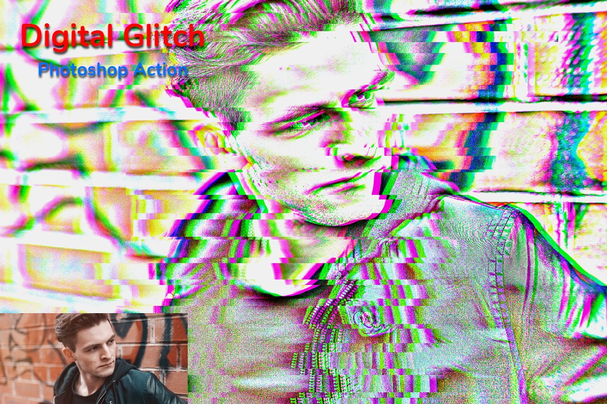 Digital Glitch Photoshop Action in Add-Ons - product preview 5