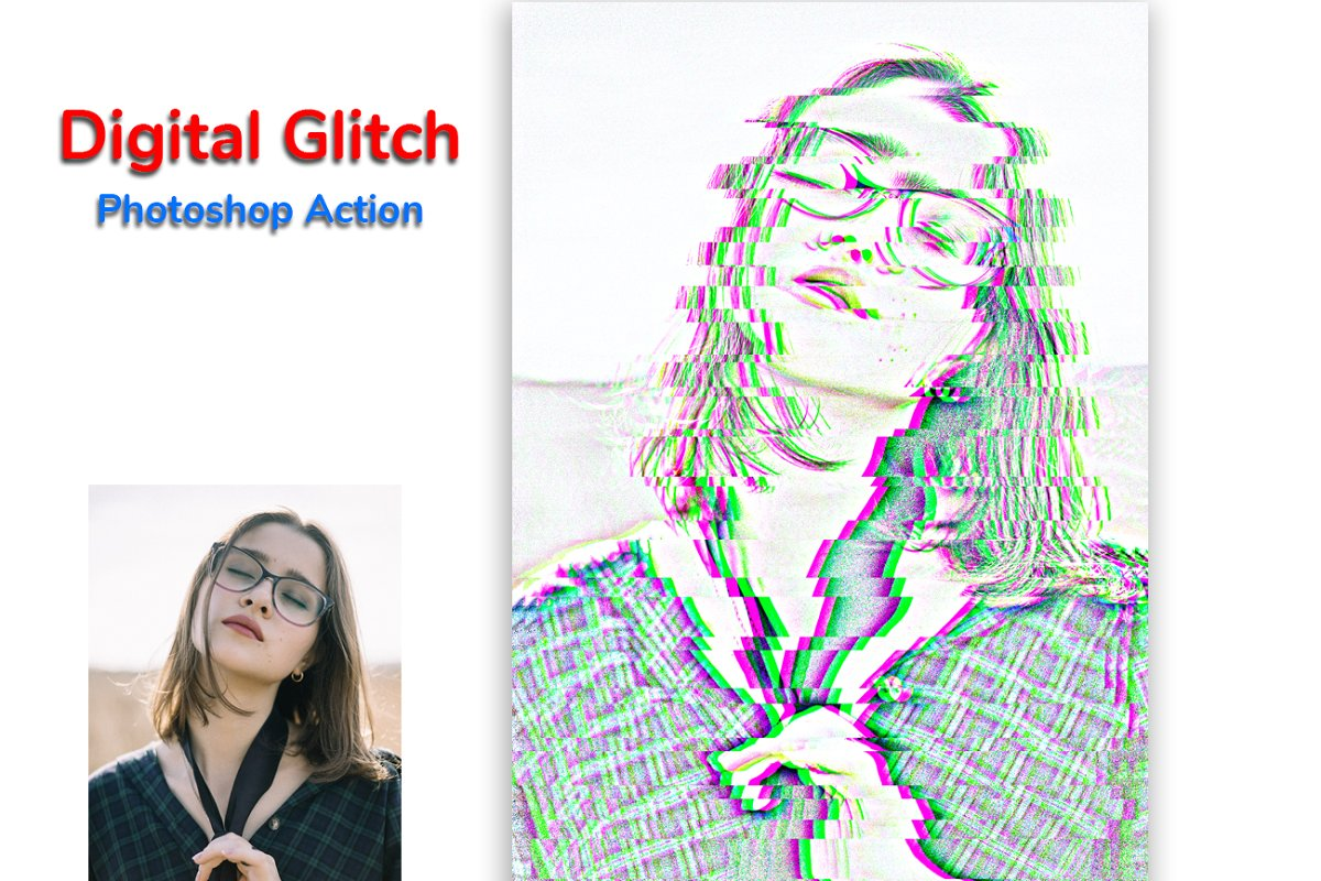 Digital Glitch Photoshop Action in Add-Ons - product preview 6