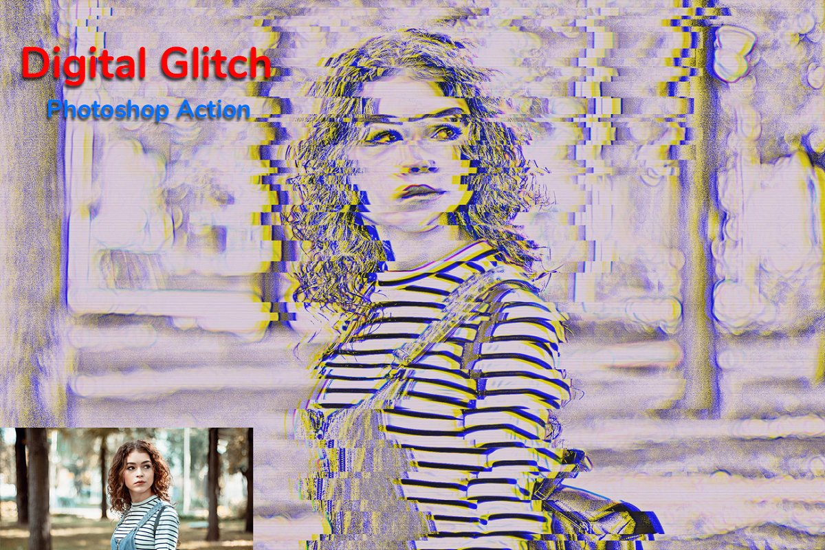 Digital Glitch Photoshop Action in Add-Ons - product preview 7