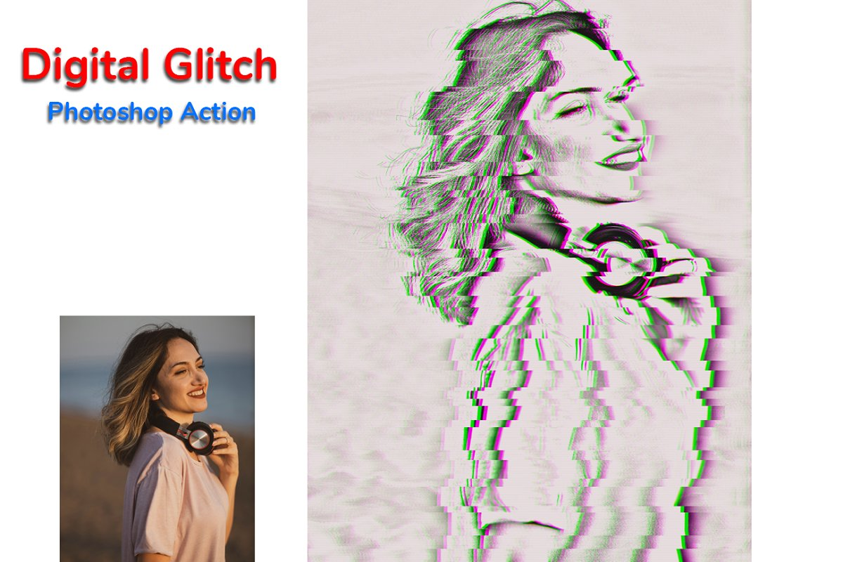 Digital Glitch Photoshop Action in Add-Ons - product preview 8