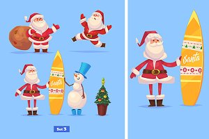 Set 3 of Funny Santa and snowman
