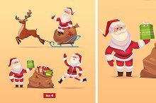 Set 4 of Funny Santa and deer