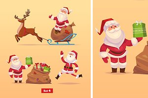 Set 4 of Funny Santa and deer