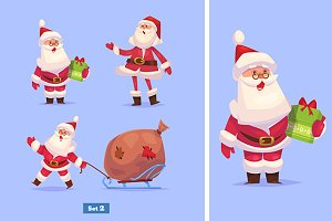 Set 2 of Funny Santa