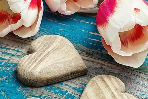 three hand-carved wooden heart with