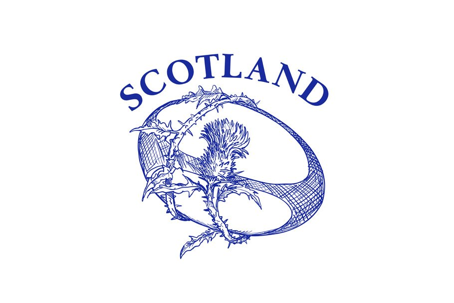 Rugby Ball Thistle Scotland Drawing