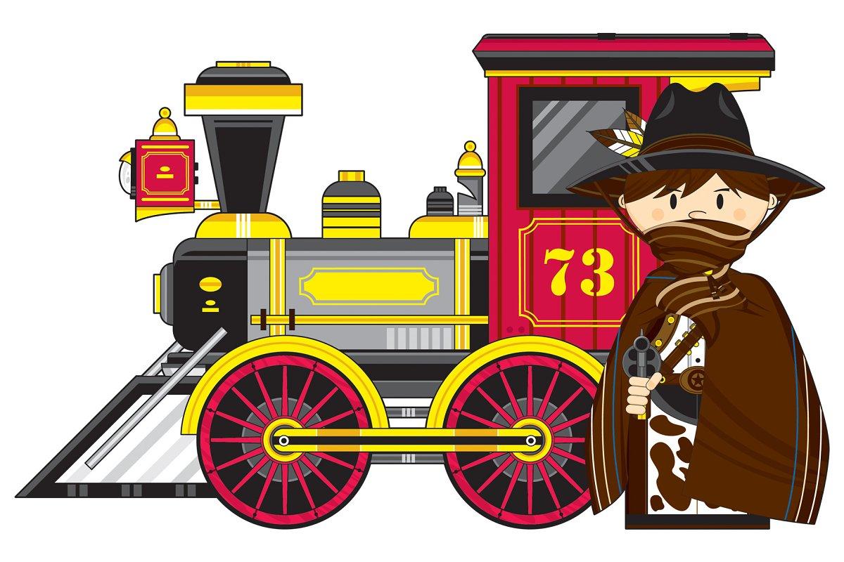 Cute Cowboy Outlaw & Train