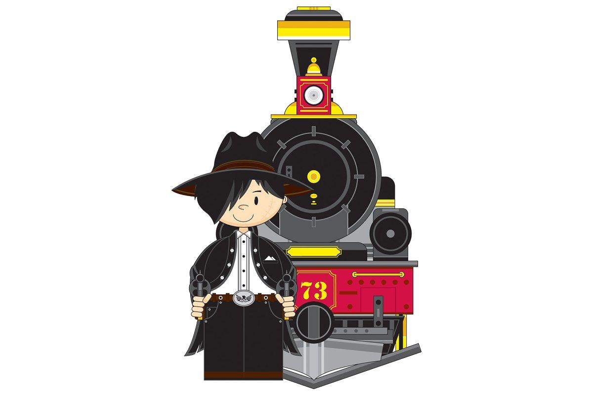 Cartoon Cowboy Outlaw & Train