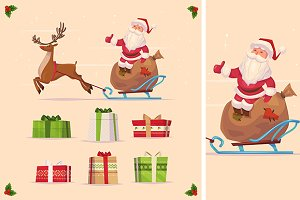 Canta claus and christmas gifts