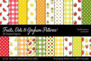 Fruits, Dots & Gingham Digital Paper