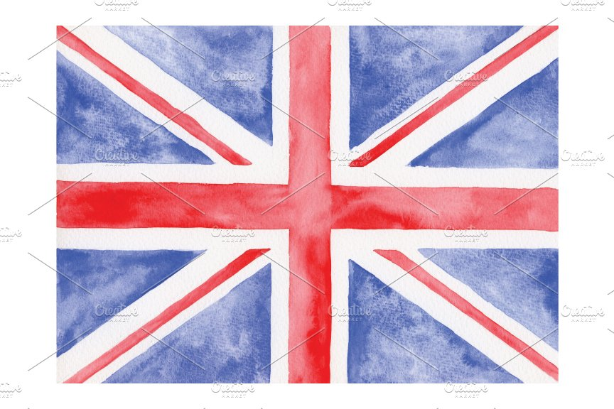 Watercolor British Flag Graphic Objects Creative Market