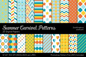 Summer Carnival Digital Papers