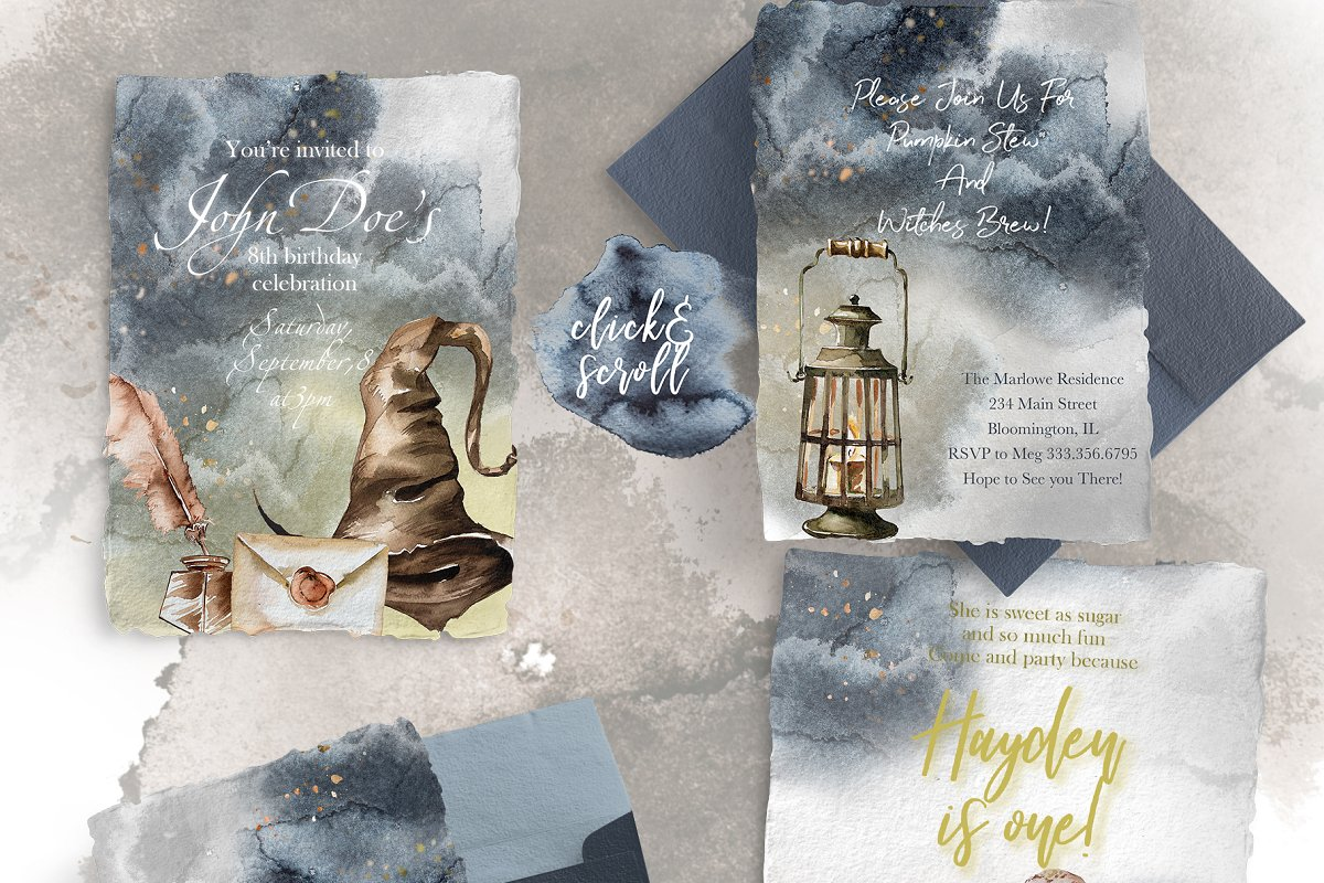 Watercolor Wizard Clipart Set in Illustrations - product preview 2