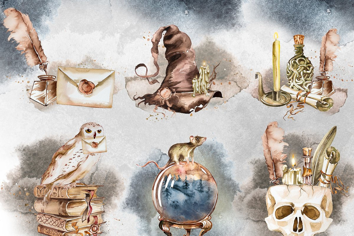 Watercolor Wizard Clipart Set in Illustrations - product preview 3