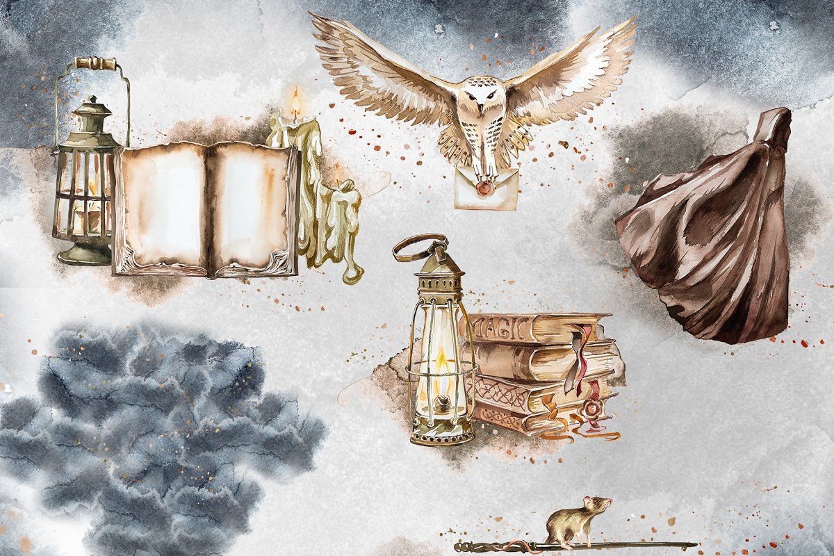 Watercolor Wizard Clipart Set in Illustrations - product preview 4