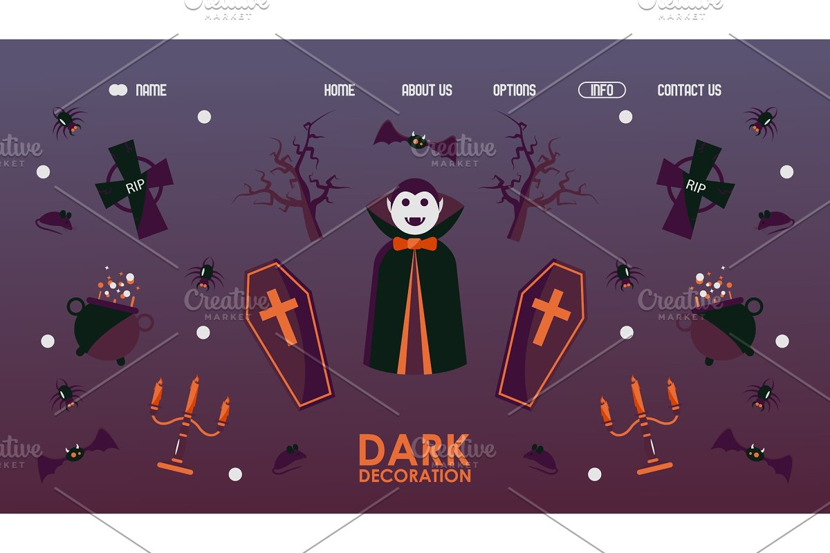 Halloween website design, vector