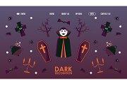Halloween website design, vector
