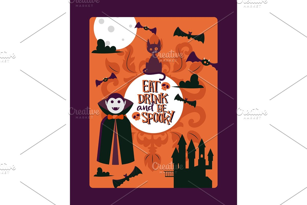 Halloween party invitation template in Textures
