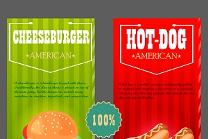 hot dog, cheeseburger.flyer/brochure