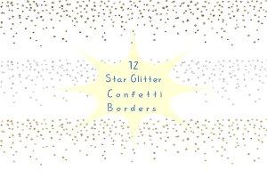 Star glitter confetti borders