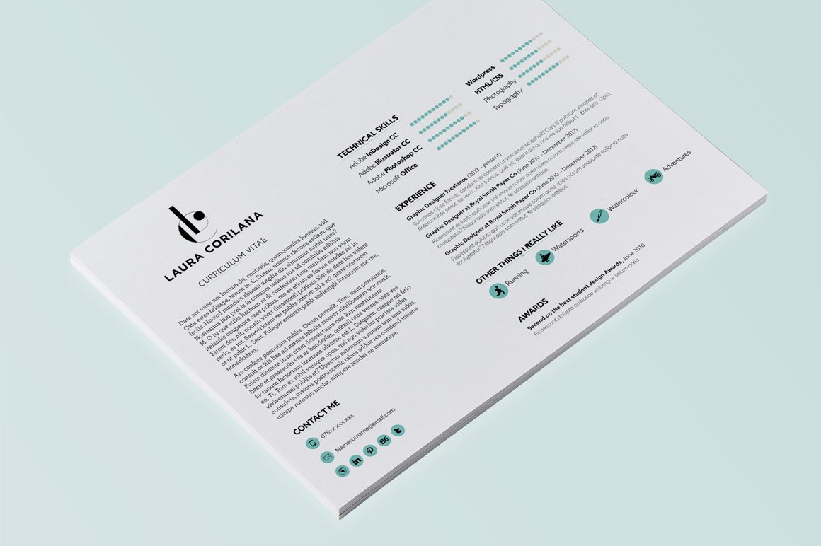a4 landscape resume template resume templates on creative market