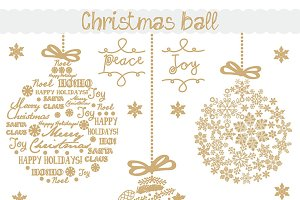 Vector christmas ball gold/white