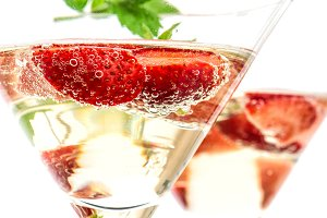 Strawberry cocktail. Champagne