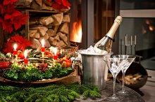 Christmas decoration. Fireplace